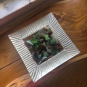 Wave Hand Blown Glass Silver Platter 🌊